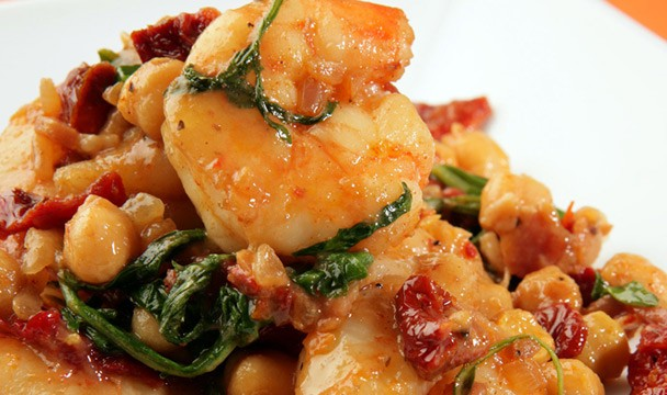 Shrimp with Garbanzo Beans, Arugula & Sun-dried Tomatoes ...