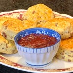 Choc Chip Scones with Strawberry Jam